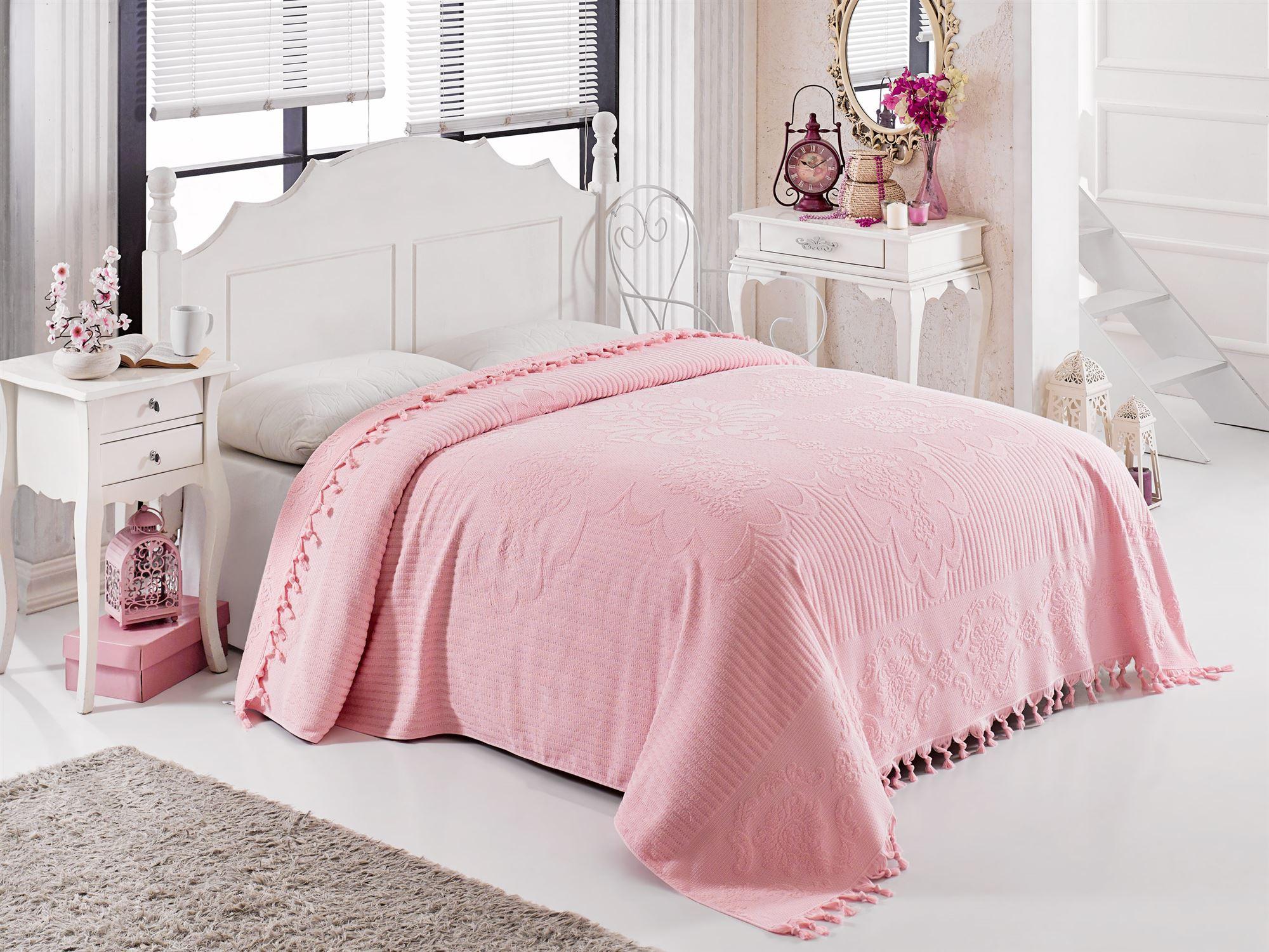 Купить Простыни Philippus, Покрывало-простыня Matilda Цвет: Розовый (200х220 см), Турция, Хлопковая махра