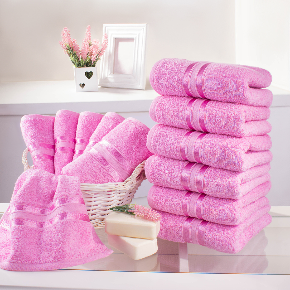Полотенца Dome, Полотенце для рук Harmonika Цвет: Розовая Вишня (33х50 см - 12 шт), Дания, Махра  - Купить
