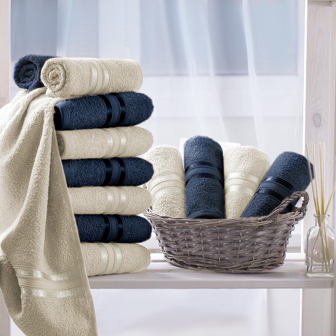 Купить Полотенца Dome, Полотенце для рук Harmonika Цвет: Темно-Синий, Экрю (33х50 см - 12 шт), Дания, Махра