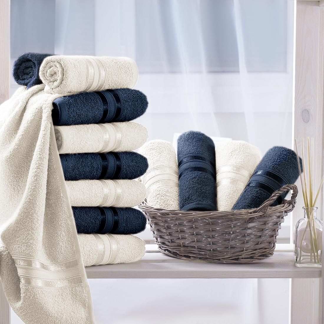 Купить Полотенца Dome, Полотенце для рук Harmonika Цвет: Темно-Синий, Молочный (33х50 см - 12 шт), Дания, Махра