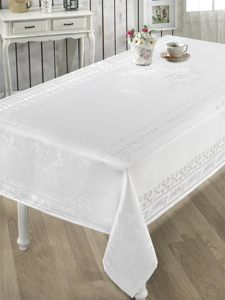 Скатерти и салфетки Karna Скатерть Zumrut Цвет: Белый (160х300 см)