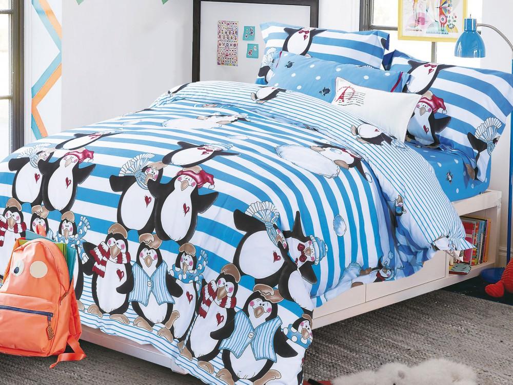 Купить Детское постельное белье Asabella, Детское Постельное белье Admiral (145х205 см), Китай, Белый, Голубой, Фланель