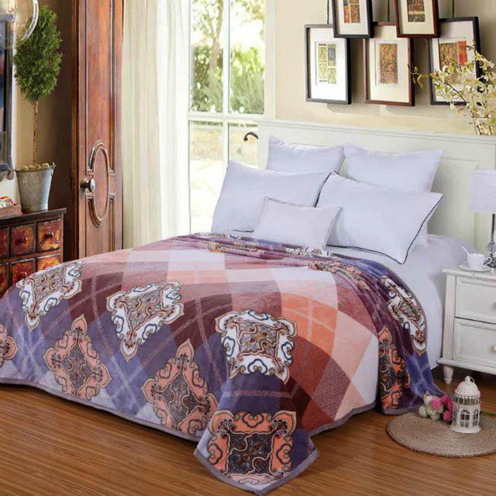 Купить Пледы и покрывала Tango, Плед Meagan (200х220 см), Китай, Оранжевый, Фиолетовый, Синтетическая фланель