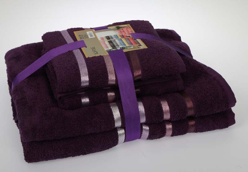 Купить Полотенца Karna, Полотенце Bale Цвет: Фиолетовый (50х80 см - 2 шт, 70х140 см - 2 шт), Турция, Махра