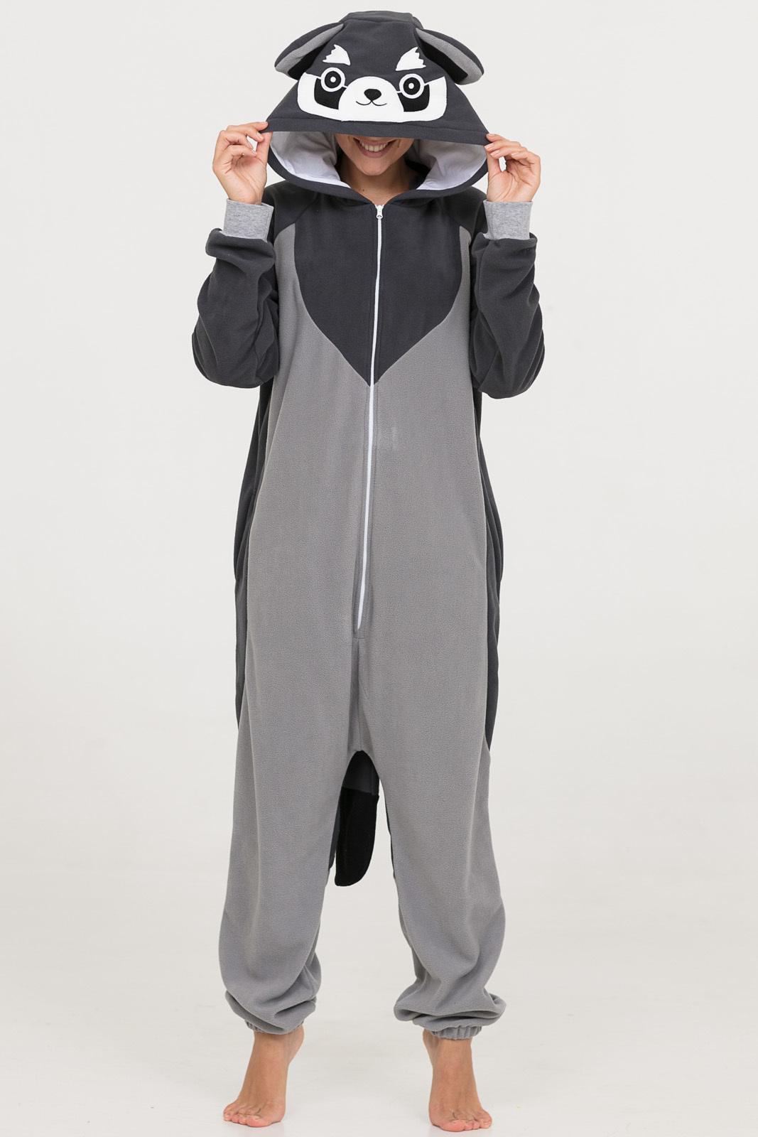 Детская пижама-кигуруми Енот Цвет: Серый (10-12 лет) фото