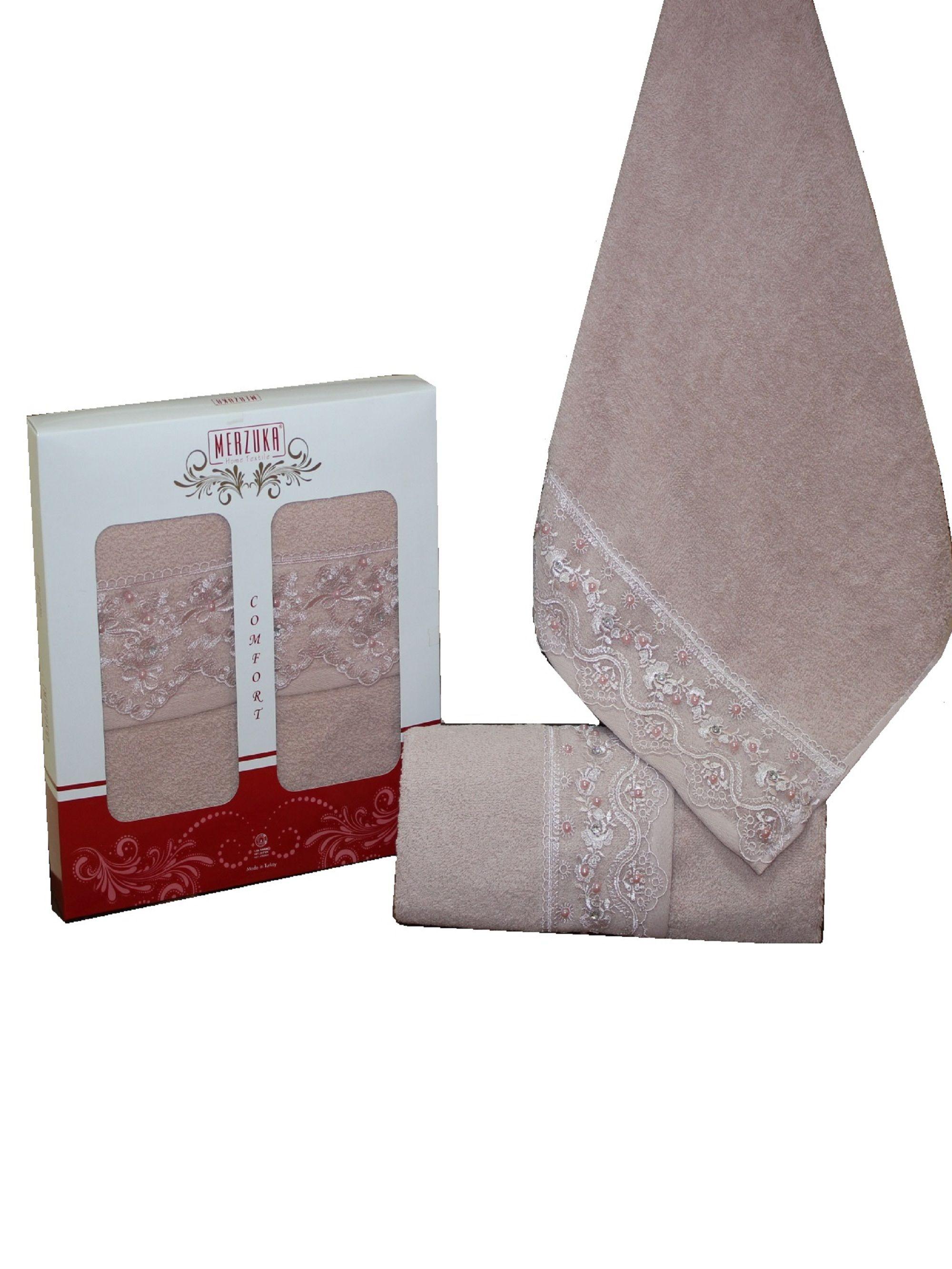Купить Полотенца Oran Merzuka, Полотенце Elit Цвет: Темно-Розовый (50х90 см - 2 шт), Турция, Махра