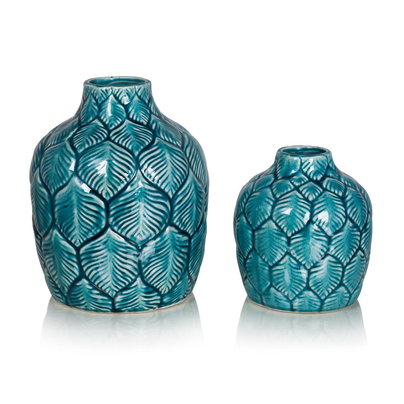 Купить Вазы Home Philosophy, Ваза Palmer Цвет: Бирюзовый (12х14 см, малая), Китай, Керамика