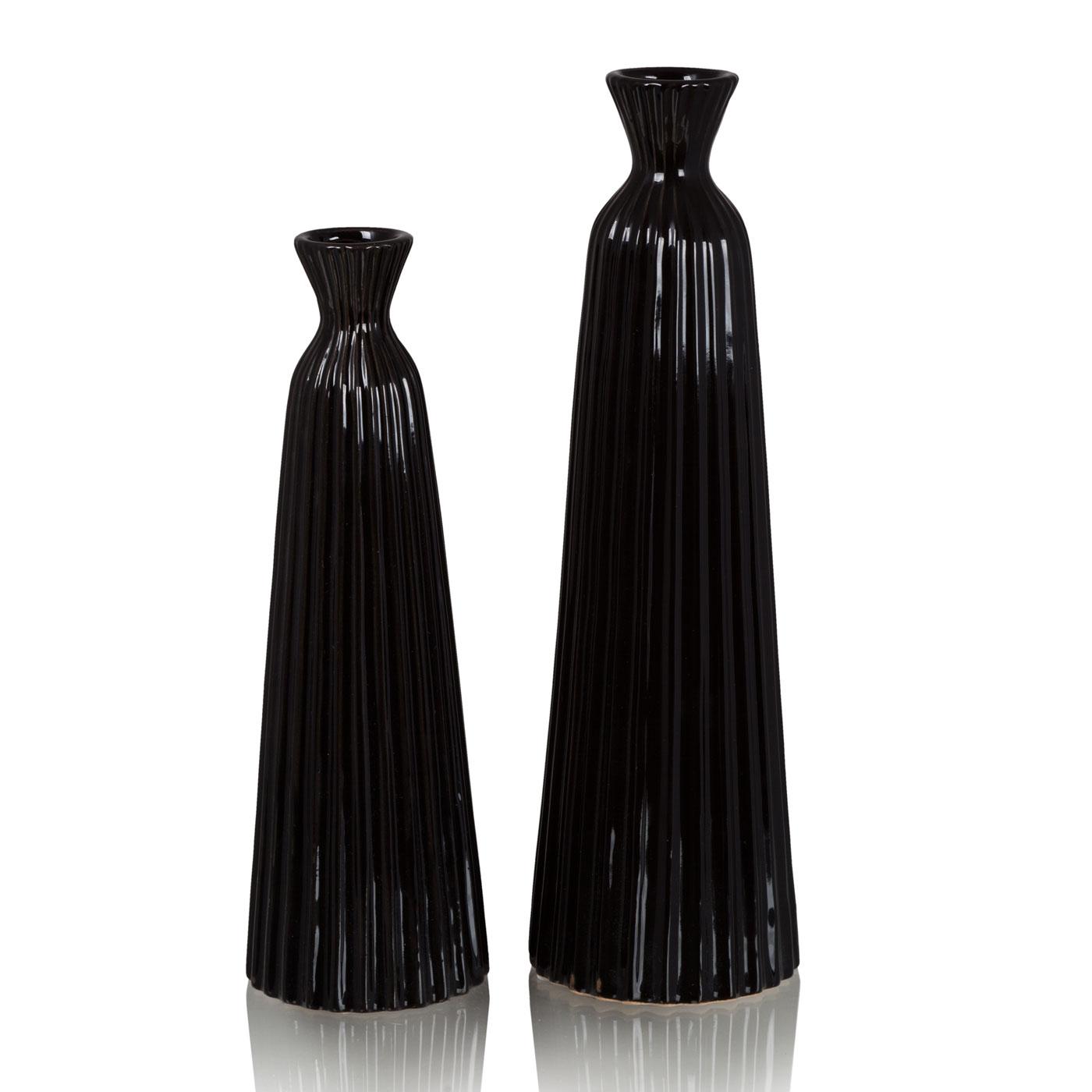 Купить Вазы Home Philosophy, Ваза Paula Цвет: Чёрный (8х25 см, малая), Китай, Керамика