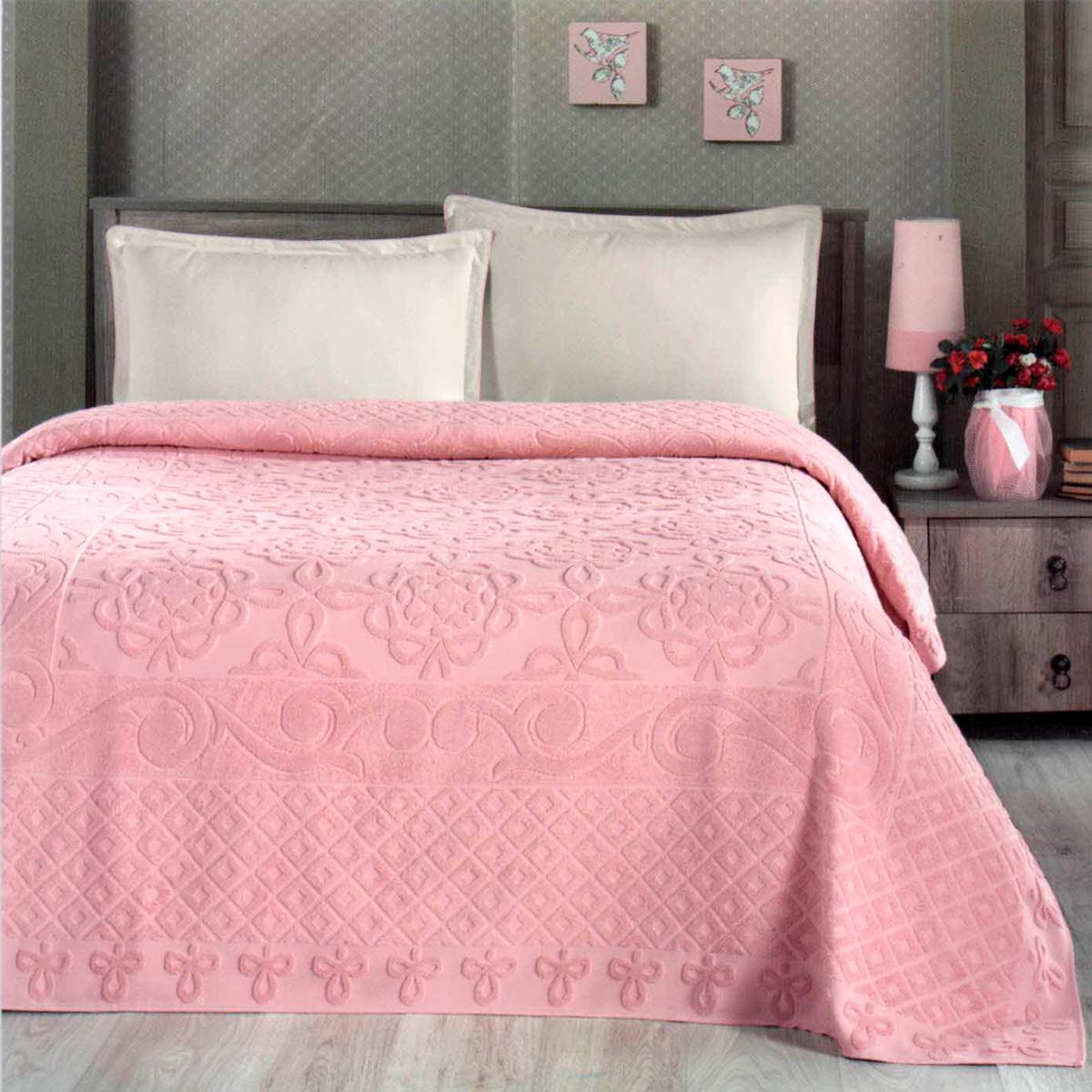 Купить Простыни Arya, Покрывало-простыня Estafan Цвет: Персиковый (200х220 см), Турция, Хлопковая махра