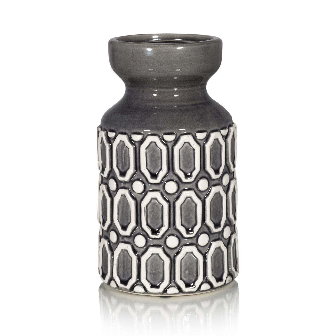 Купить Вазы Home Philosophy, Ваза Sloan Цвет: Серо-Фиолетовый (14х26 см), Китай, Серый, Керамика