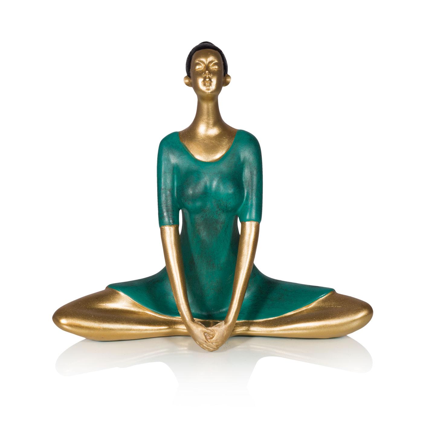 Купить Статуэтки и фигурки Home Philosophy, Статуэтка Yoga Цвет: Изумрудно-Золотой (22х10х20 см), Китай, Зеленый, Золотой, Полирезин