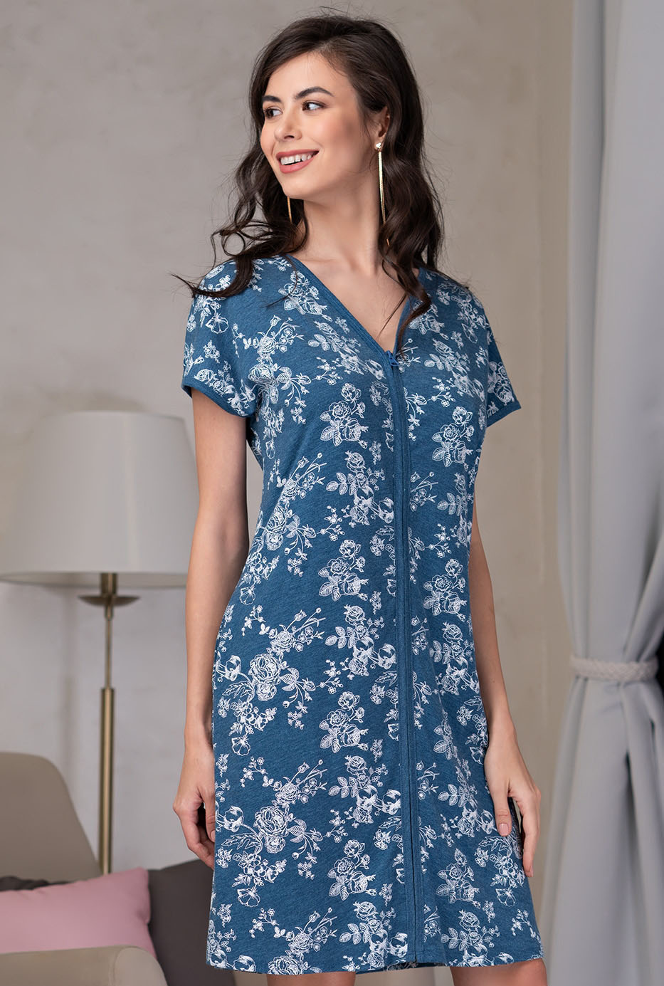 Домашний халат Gelincik Цвет: Синий (48-50) Mia-Mella mel638673
