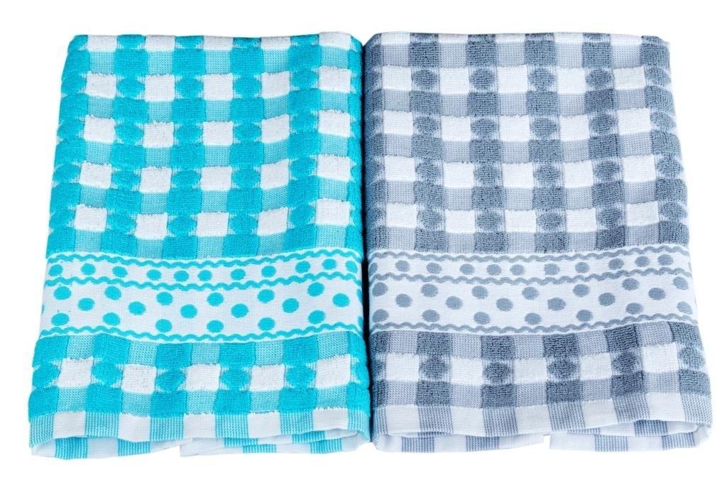 Купить Полотенца Toalla, Кухонное полотенце Aherne Цвет: Серый, Голубой (40х60 см - 2 шт), Египет, Махра