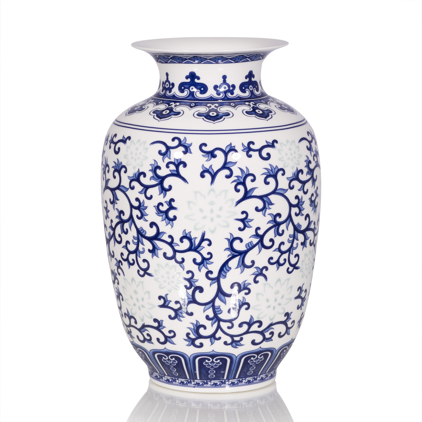 Купить Вазы Home Philosophy, Ваза Oriental Цвет: Бело-Синий (13х22 см), Китай, Белый, Синий, Фарфор