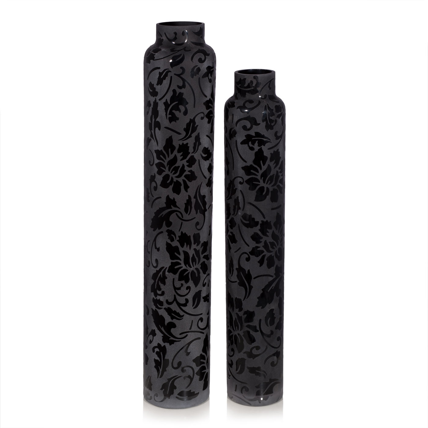 Купить Вазы Home Philosophy, Ваза Lumia Цвет: Черный (10х55 см, малая), Китай, Стекло