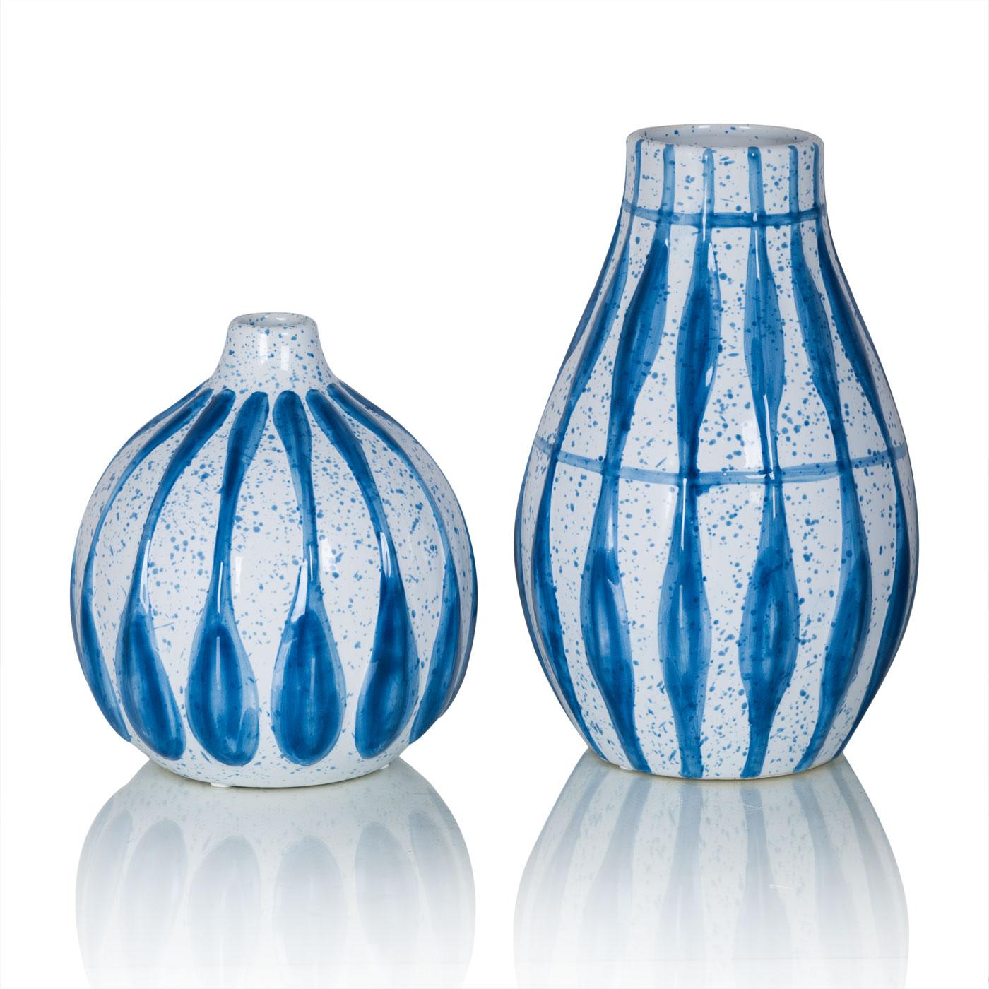 Купить Вазы Home Philosophy, Ваза Fantasia Цвет: Голубой (16х26 см, большая), Китай, Белый, Голубой, Керамика