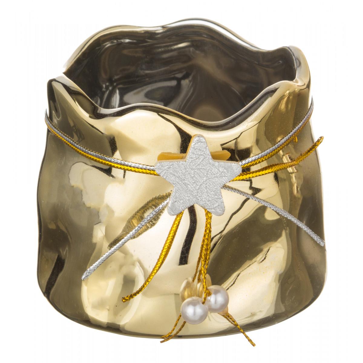 Купить Декоративные свечи Lefard, Свеча-подсвечник Kyra (7х9х9 см), Китай, Золотой, Керамика
