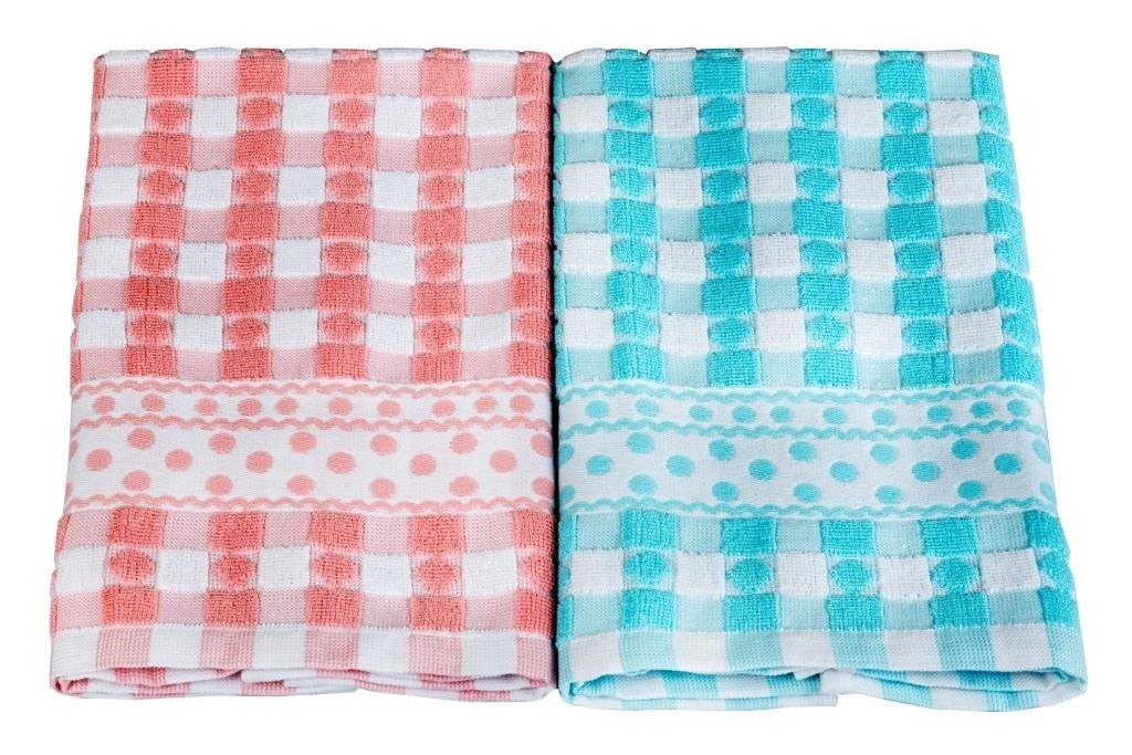 Купить Полотенца Toalla, Кухонное полотенце Ona Цвет: Розовый, Голубой (40х60 см - 2 шт), Египет, Махра
