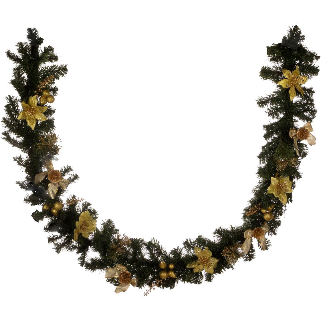 Купить Искусственные растения Lefard, Гирлянда С Золотыми Пуансетиями (200 см), Китай, Пластик