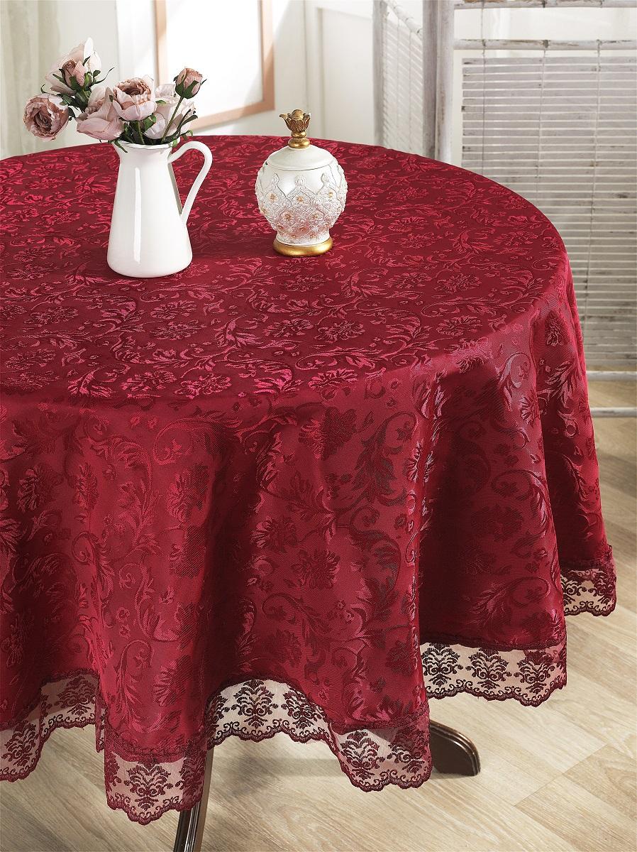 Скатерти и салфетки Karna Скатерть Leda Цвет: Бордовый (круглая 160 см) ткань mas d ousvan dots цвет бордовый 110 х 100 см
