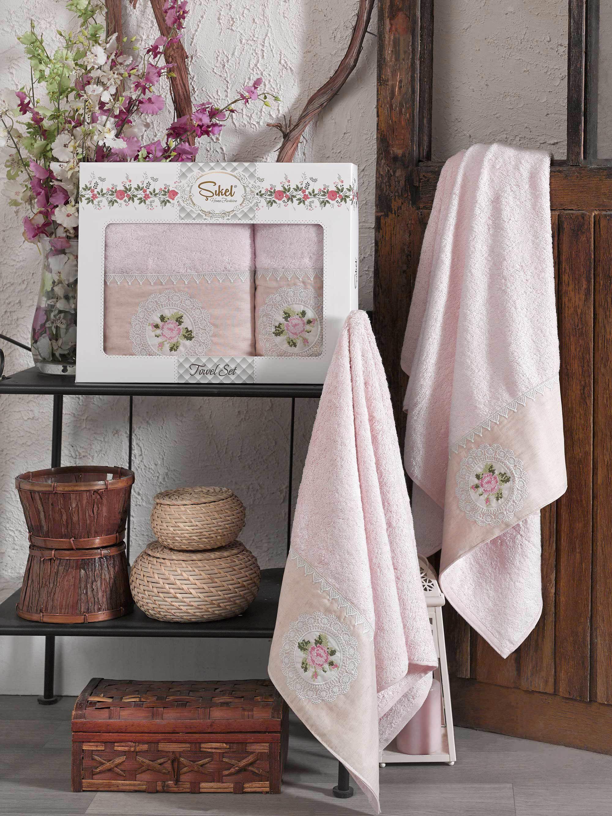 Купить Полотенца Sikel, Полотенце Kanevice Цвет: Розовый (50х90 см, 70х140 см), Турция, Бамбук