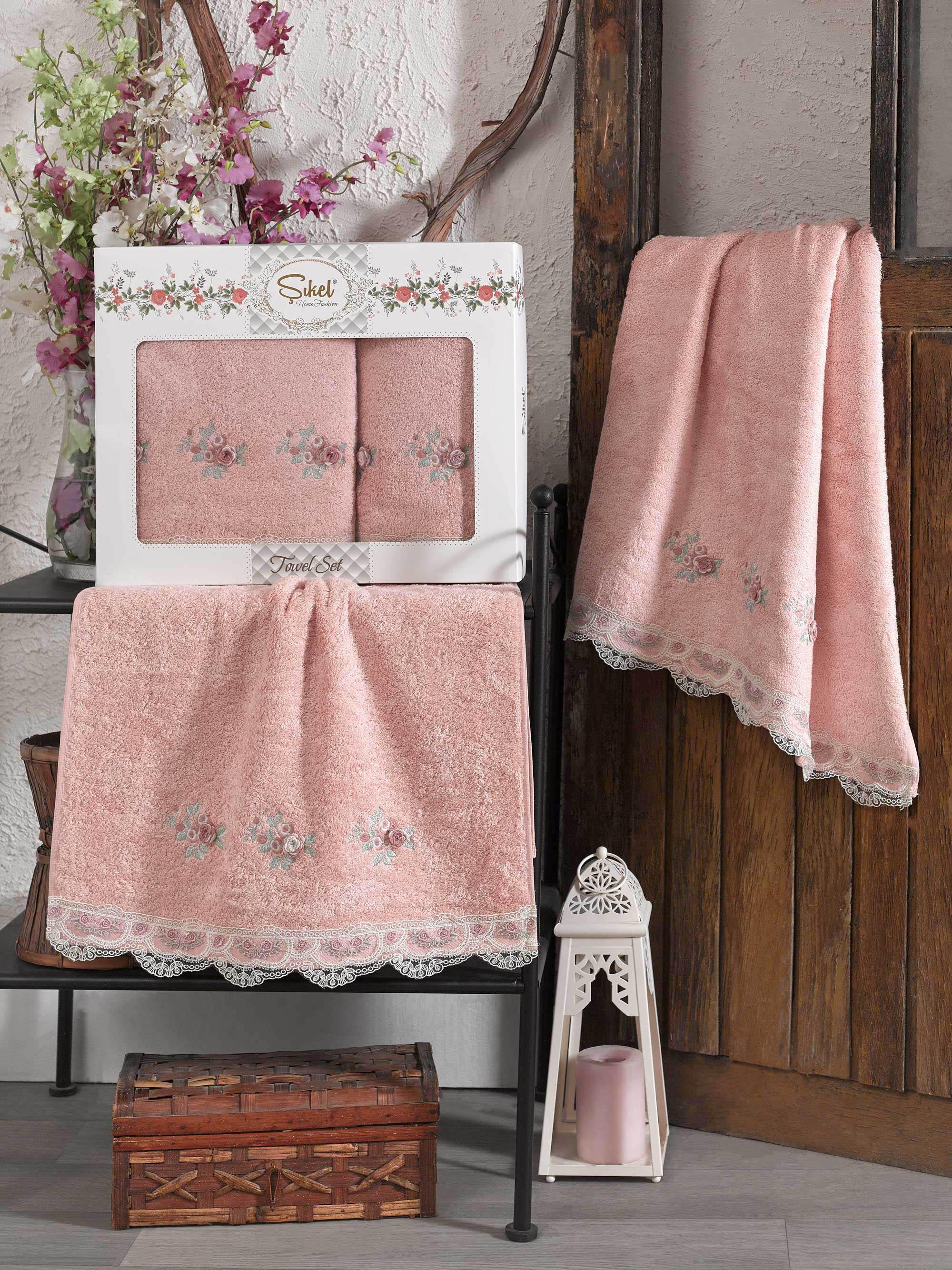 Купить Полотенца Sikel, Полотенце London Цвет: Пудра (50х90 см, 70х140 см), Турция, Персиковый, Бамбук
