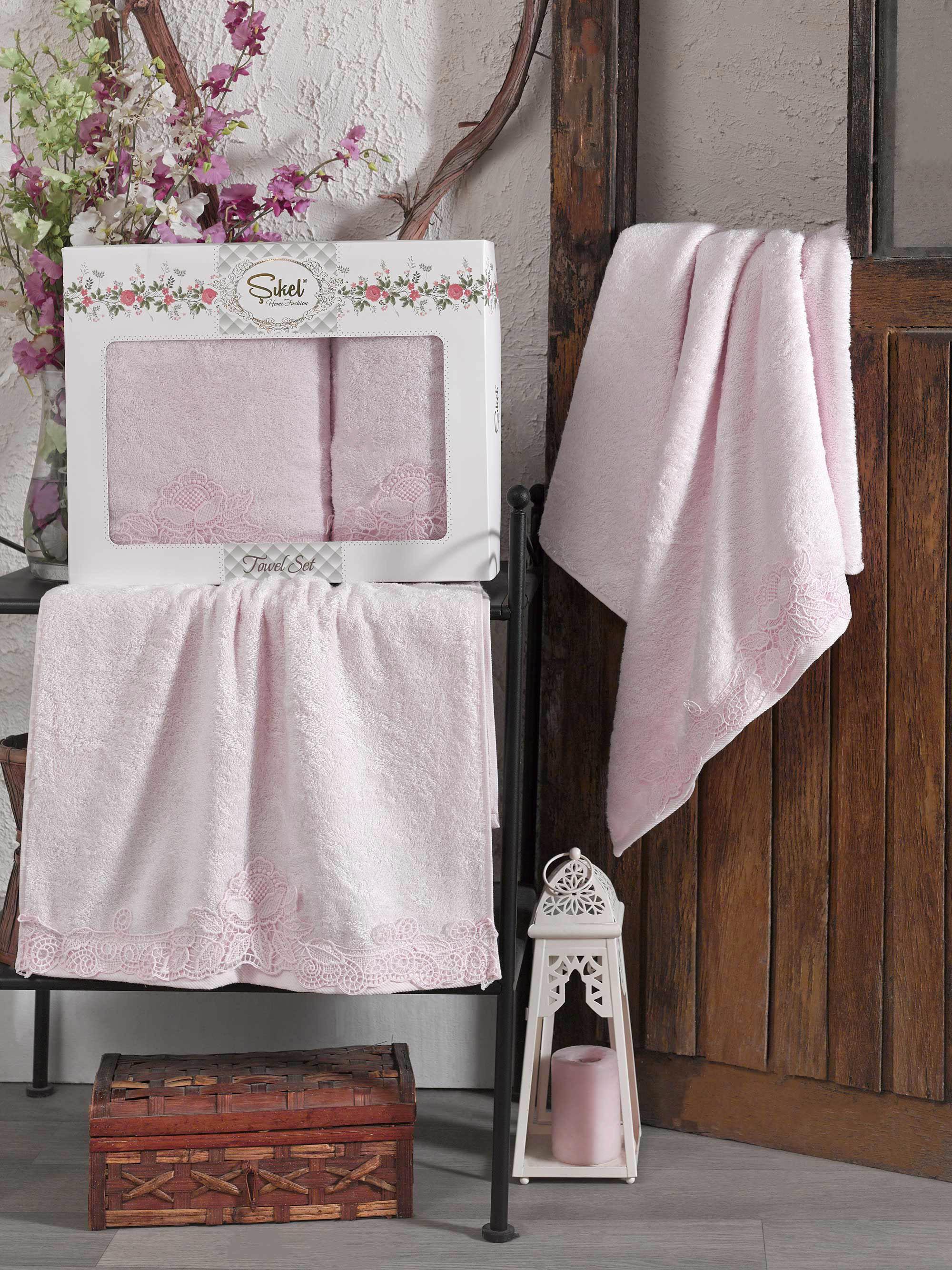 Купить Полотенца Sikel, Полотенце Berhamis Цвет: Розовый (50х90 см, 70х140 см), Турция, Бамбук