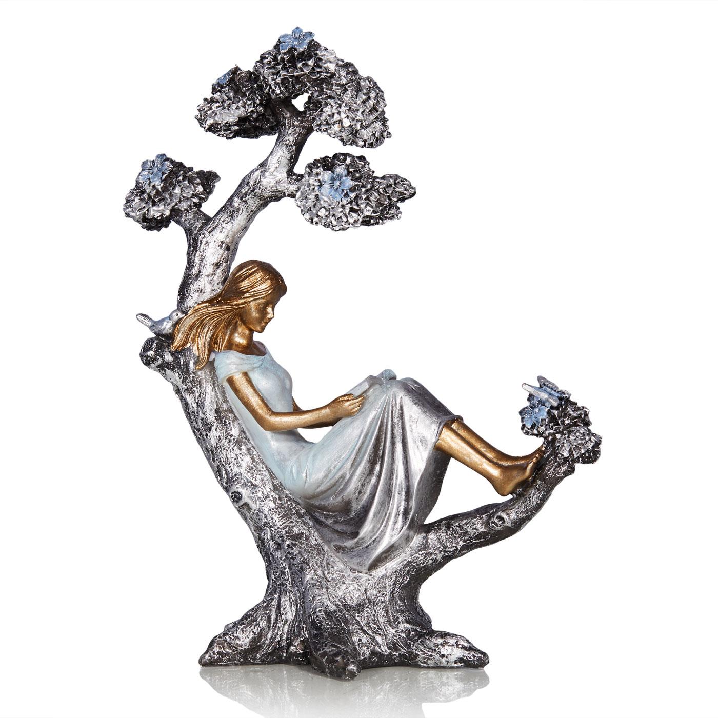 Купить Статуэтки и фигурки Home Philosophy, Фигурка Carole Цвет: Серебряно-Голубой (19х9х26 см), Китай, Полирезин