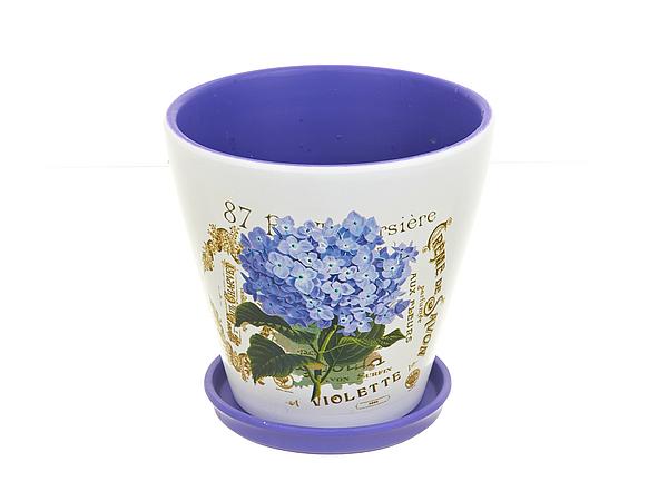 Горшки, подставки для цветов Gloria Garden Горшок  поддоном Лиловая Гортензия (Набор)