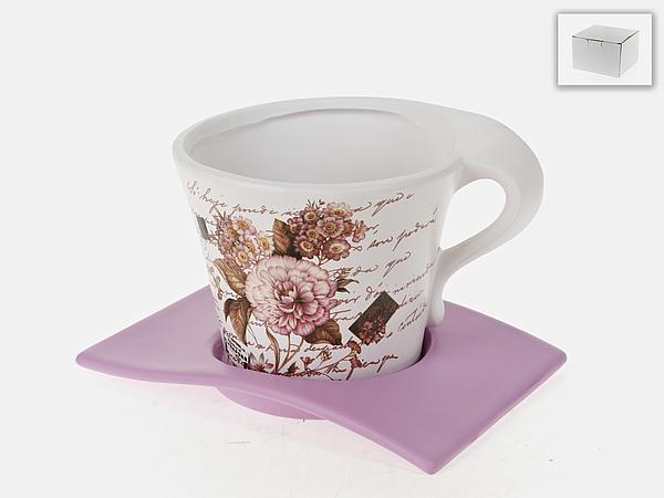 Горшки, подставки для цветов Gloria Garden Горшок с поддоном Дыхание Лета (14х15 см) цена