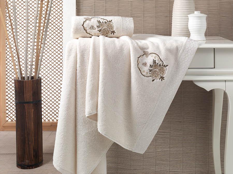 Полотенца Karna Полотенце Demet Цвет: Кремовый (Набор) полотенца karna полотенце petek цвет кремовый синий набор
