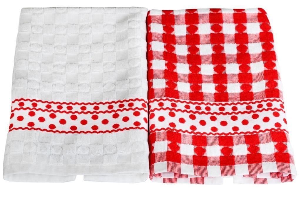 Купить Полотенца Toalla, Кухонное полотенце Alvar Цвет: Белый, Красный (40х60 см - 2 шт), Египет, Махра