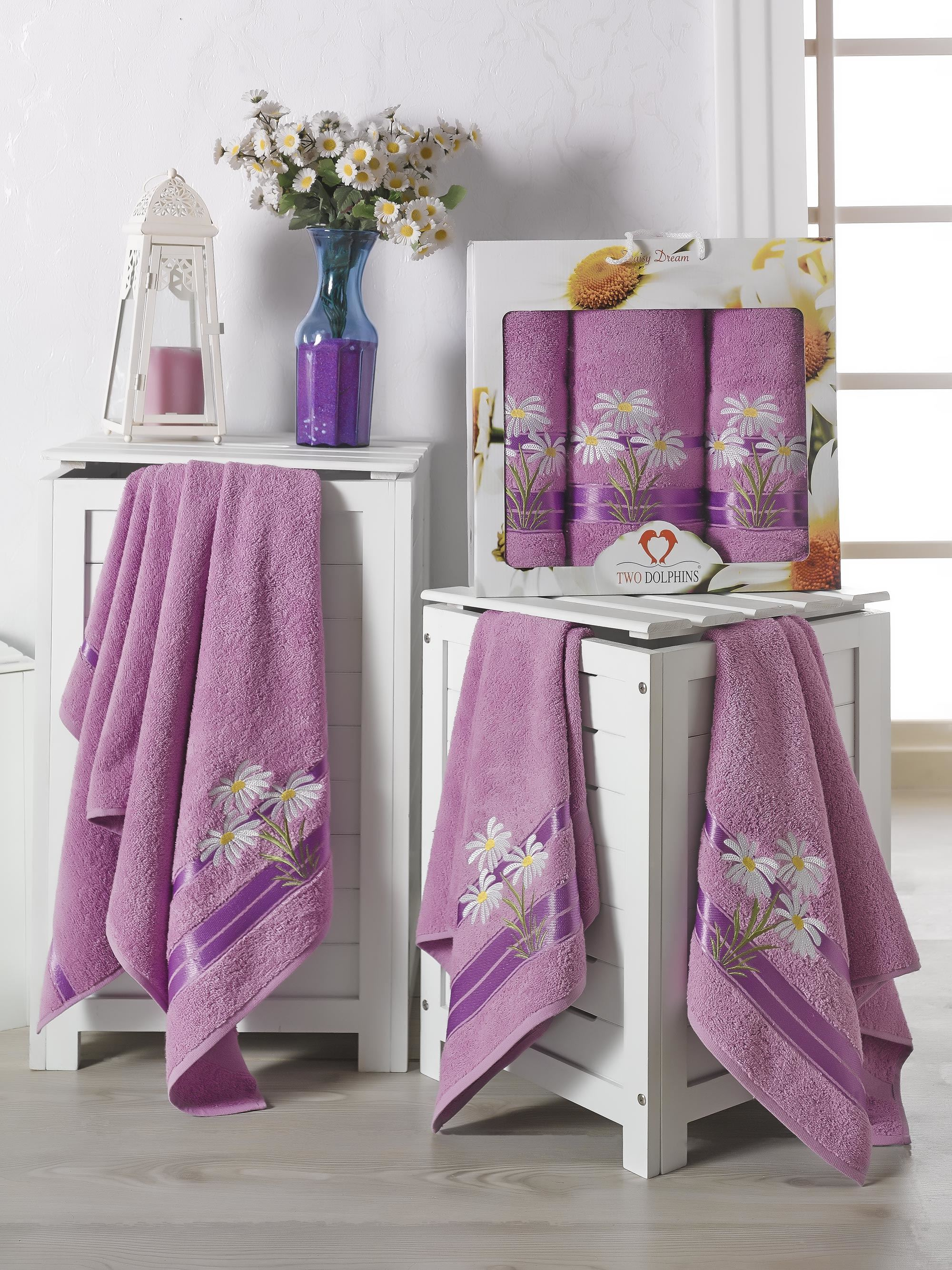 Купить Полотенца Two Dolphins, Полотенце Daisy Dream Цвет: Лиловый (50х90 см - 2 шт, 70х140 см), Турция, Сиреневый, Махра