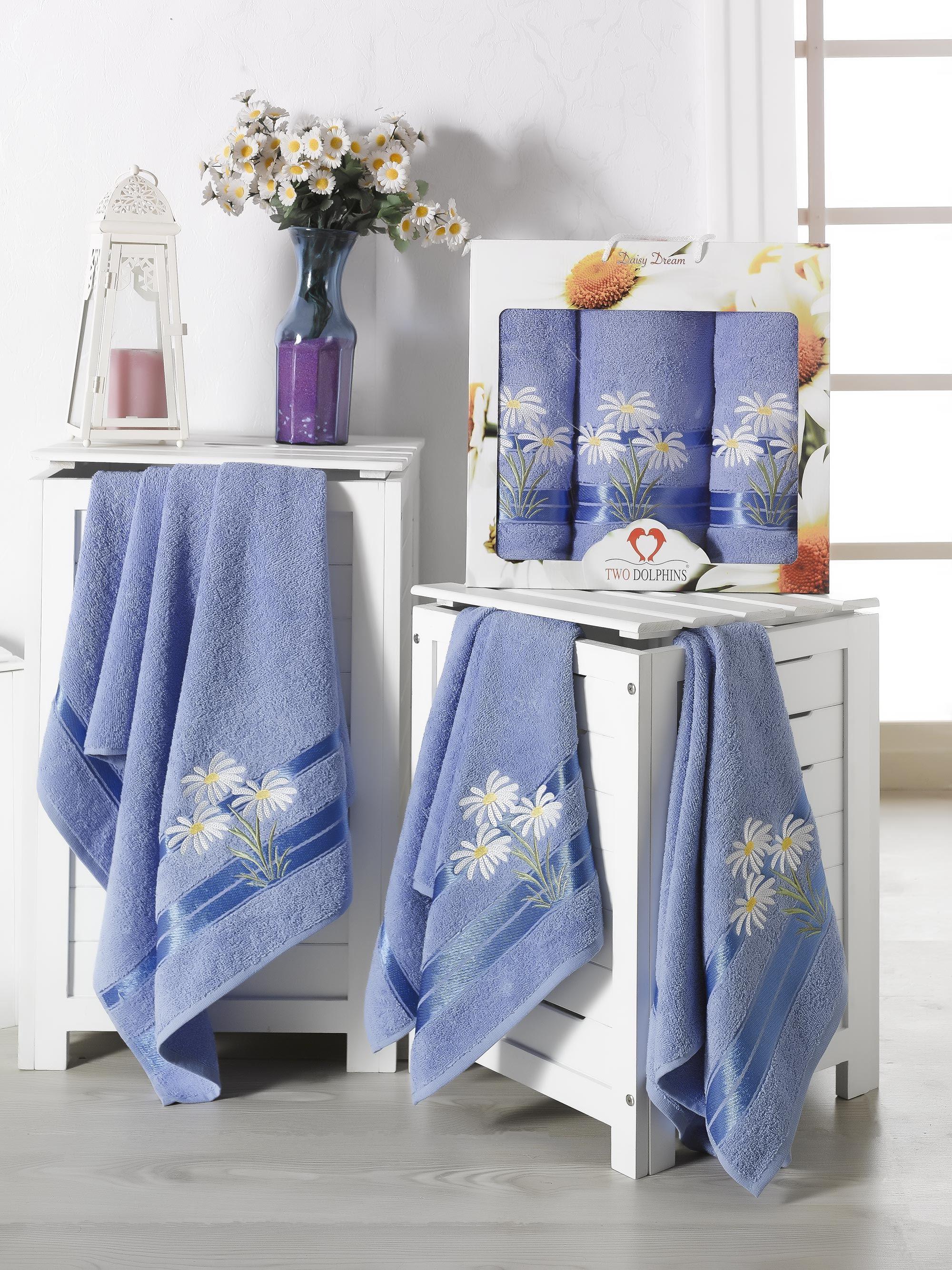 Купить Полотенца Two Dolphins, Полотенце Daisy Dream Цвет: Голубой (50х90 см - 2 шт, 70х140 см), Турция, Махра