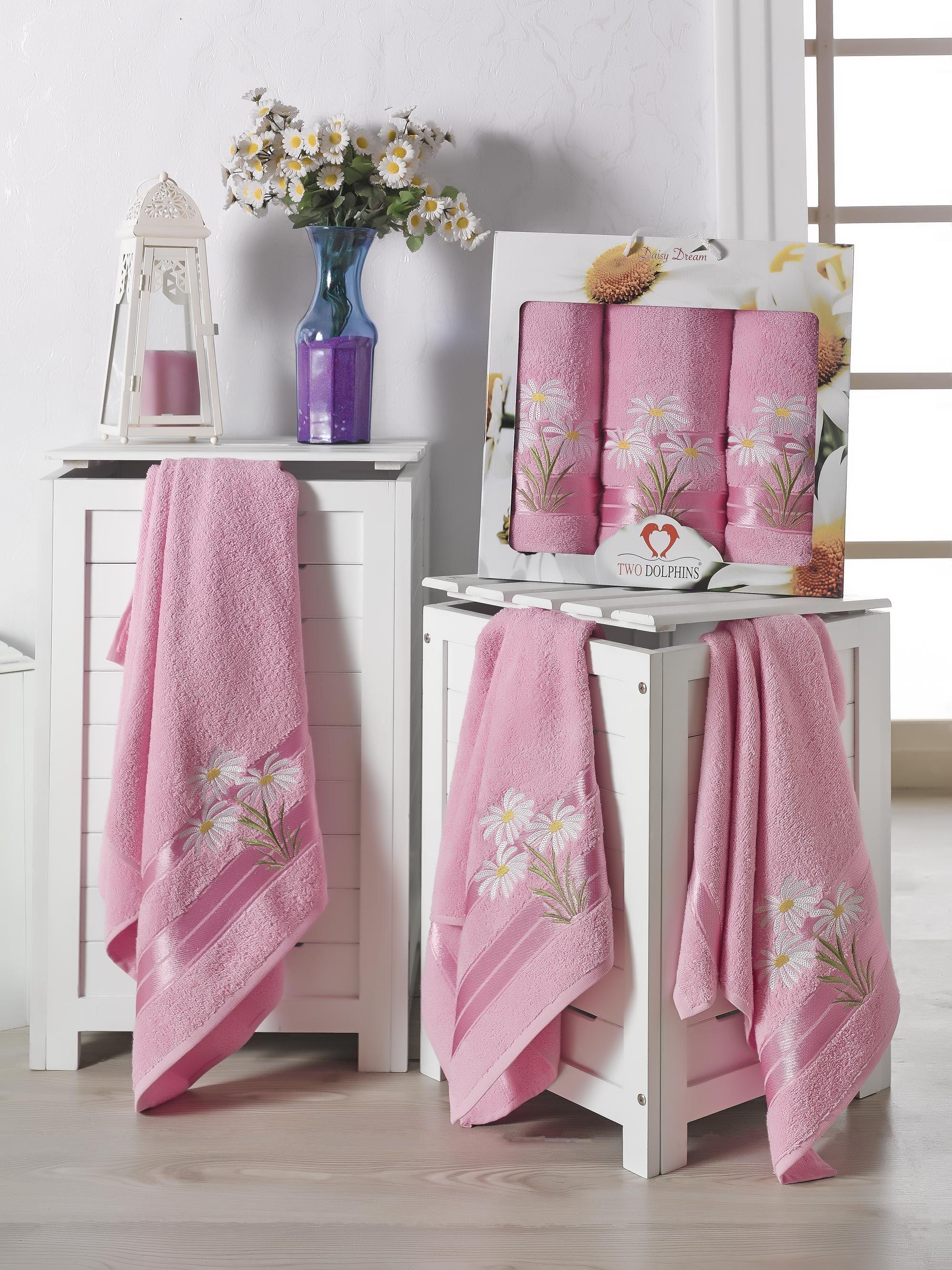 Купить Полотенца Two Dolphins, Полотенце Daisy Dream Цвет: Розовый (50х90 см - 2 шт, 70х140 см), Турция, Махра