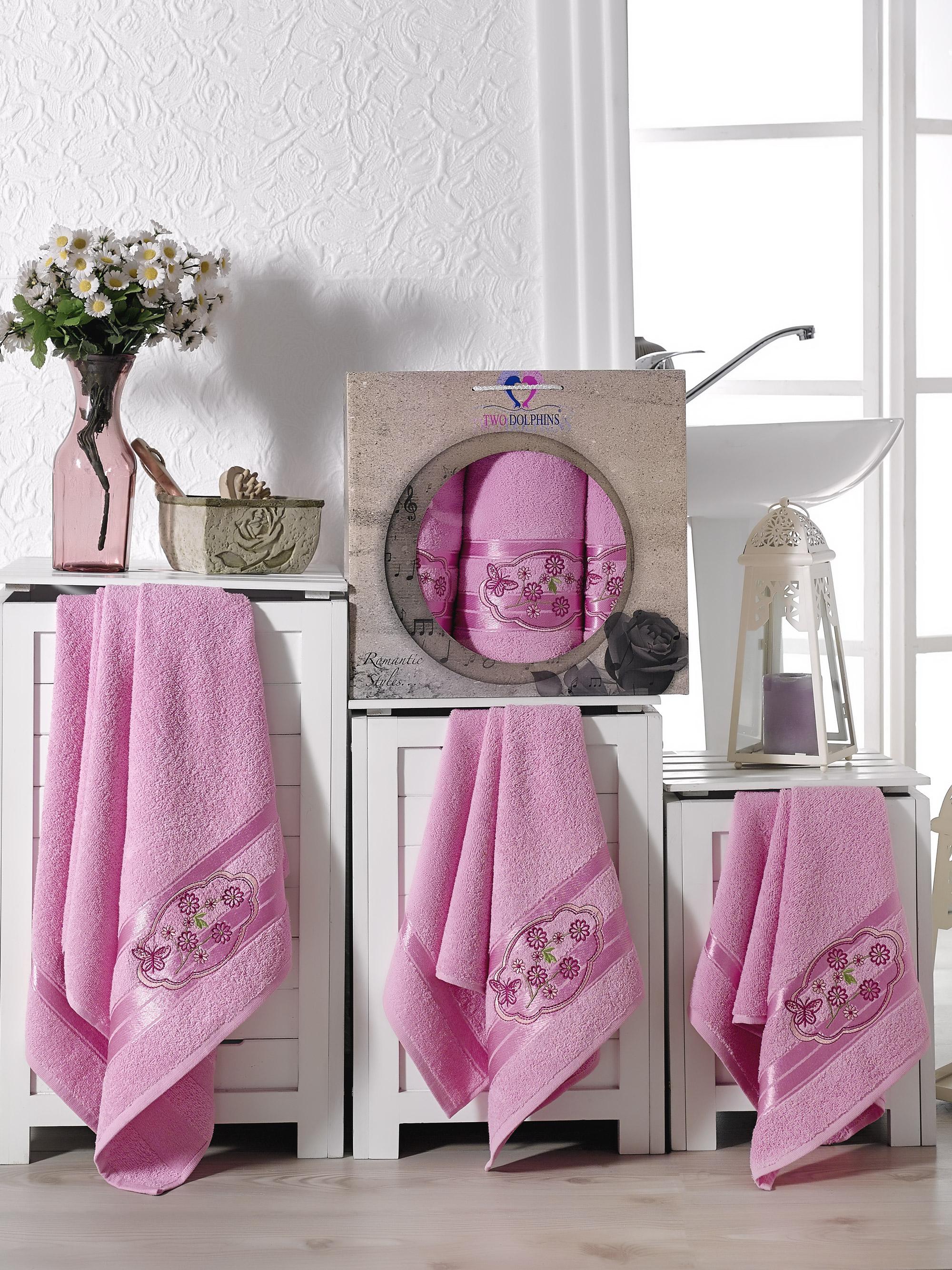 Купить Полотенца Two Dolphins, Полотенце Romantic Styles Цвет: Розовый (50х90 см - 2 шт, 70х140 см), Турция, Махра