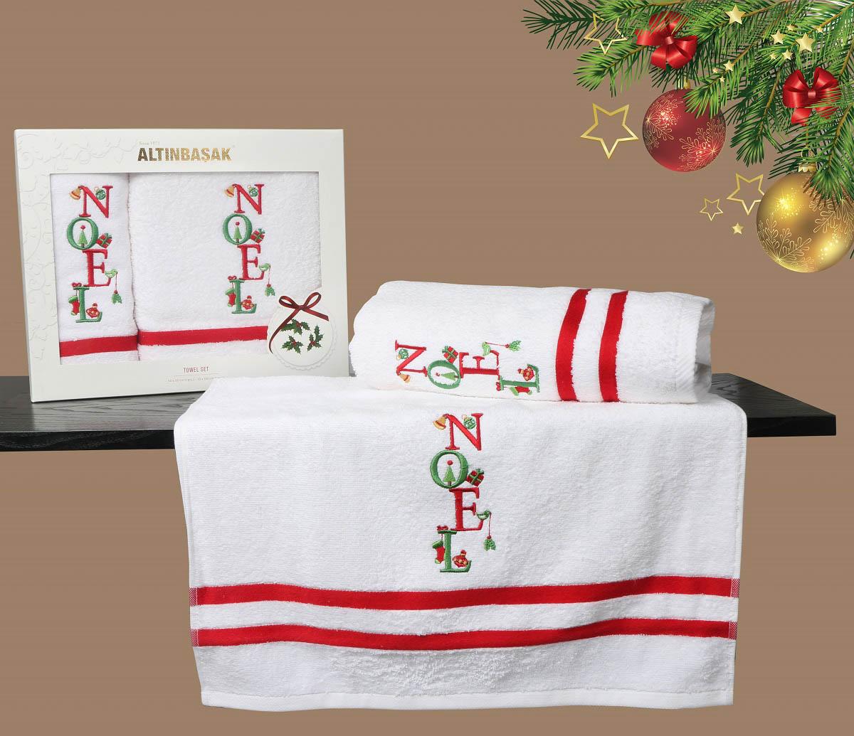 Купить Полотенца Altinbasak, Полотенце Noel V4 (Набор), Турция, Белый, Красный, Махра