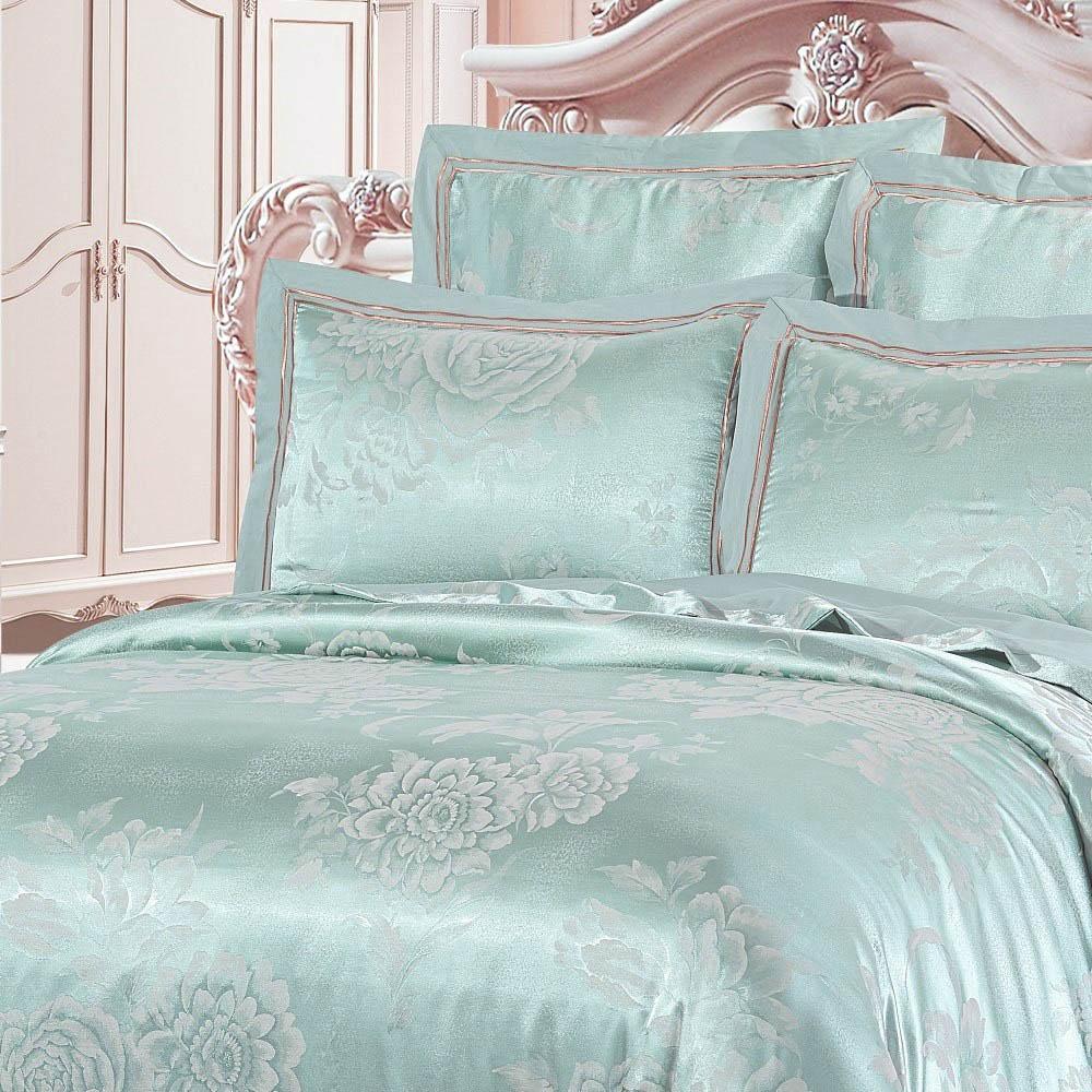 все цены на Комплекты постельного белья KingSilk Постельное белье Shevon Цвет: Мятный (King size (Евро макси)) в интернете