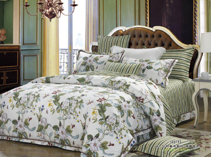 Купить Комплекты постельного белья Valtery, Постельное белье Annalee (2 спал.), Китай, Зеленый, Хлопковый сатин