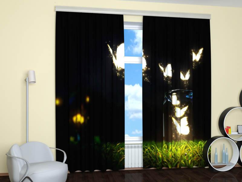 Шторы StickButik Фотошторы Ночные Бабочки