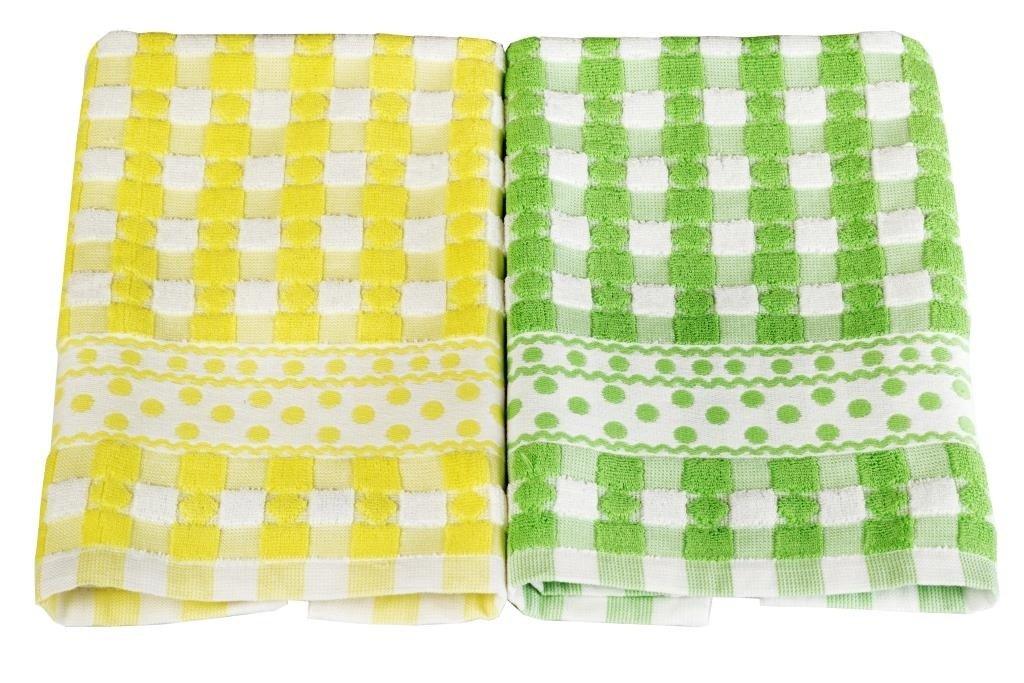 Купить Полотенца Toalla, Кухонное полотенце Rebekah Цвет: Зеленый, Желтый (40х60 см - 2 шт), Египет, Махра