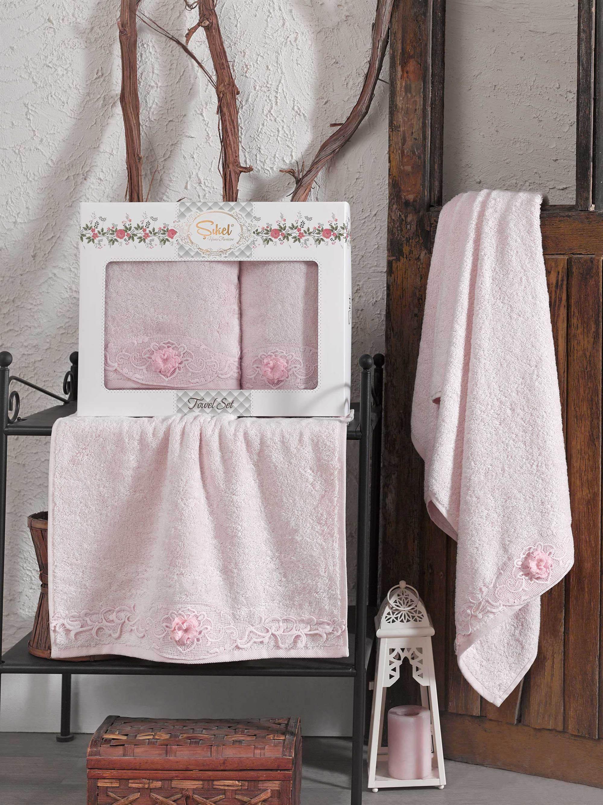 Купить Полотенца Sikel, Полотенце Afrodit Цвет: Розовый (50х90 см, 70х140 см), Турция, Бамбук