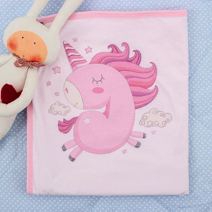 Купить Покрывала, подушки, одеяла для малышей Крошка Я, Детский плед Единорог Цвет: Розовый (80х110 см), Россия, Хлопковый трикотаж