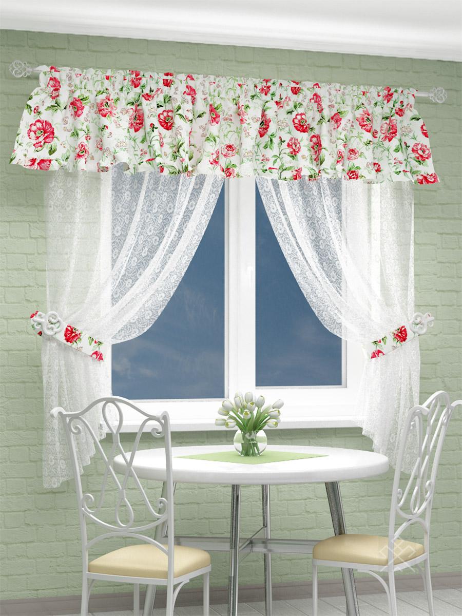 Купить Шторы Параскева, Шторы с ламбрекеном Розы, Россия, Портьерная ткань, Вуаль