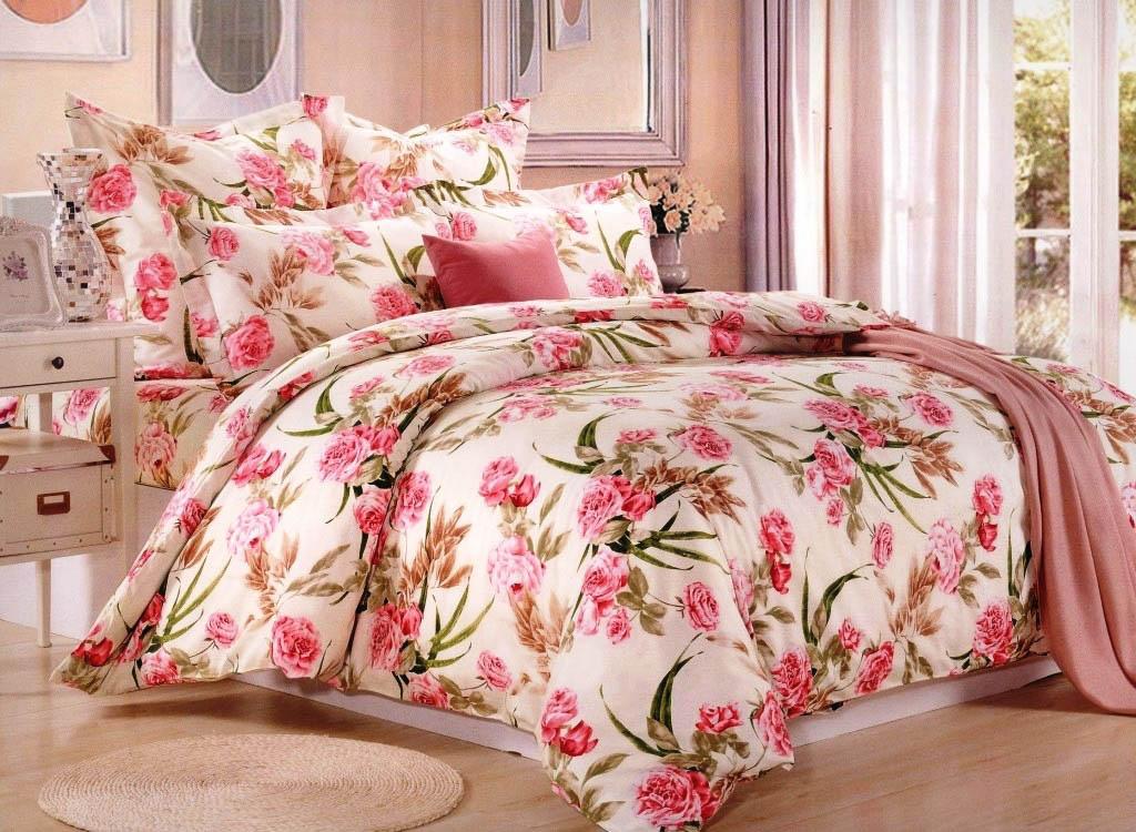 Купить Комплекты постельного белья Valtery, Постельное белье Lidya (семейное), Китай, Персиковый, Розовый, Хлопковый сатин