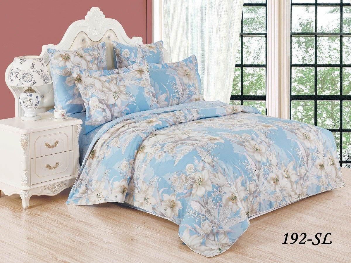 Купить Комплекты постельного белья Cleo, Постельное белье Айвори (1, 5 спал.), Китай, Голубой, Хлопковый сатин
