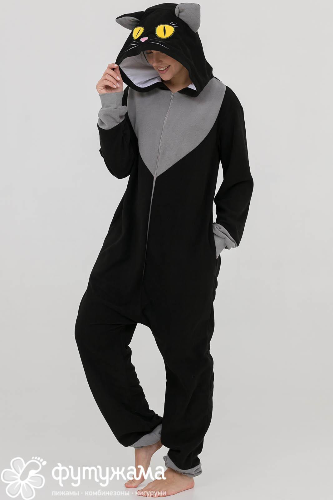Детская пижама-кигуруми Кот Цвет: Черный (10-12 лет) фото