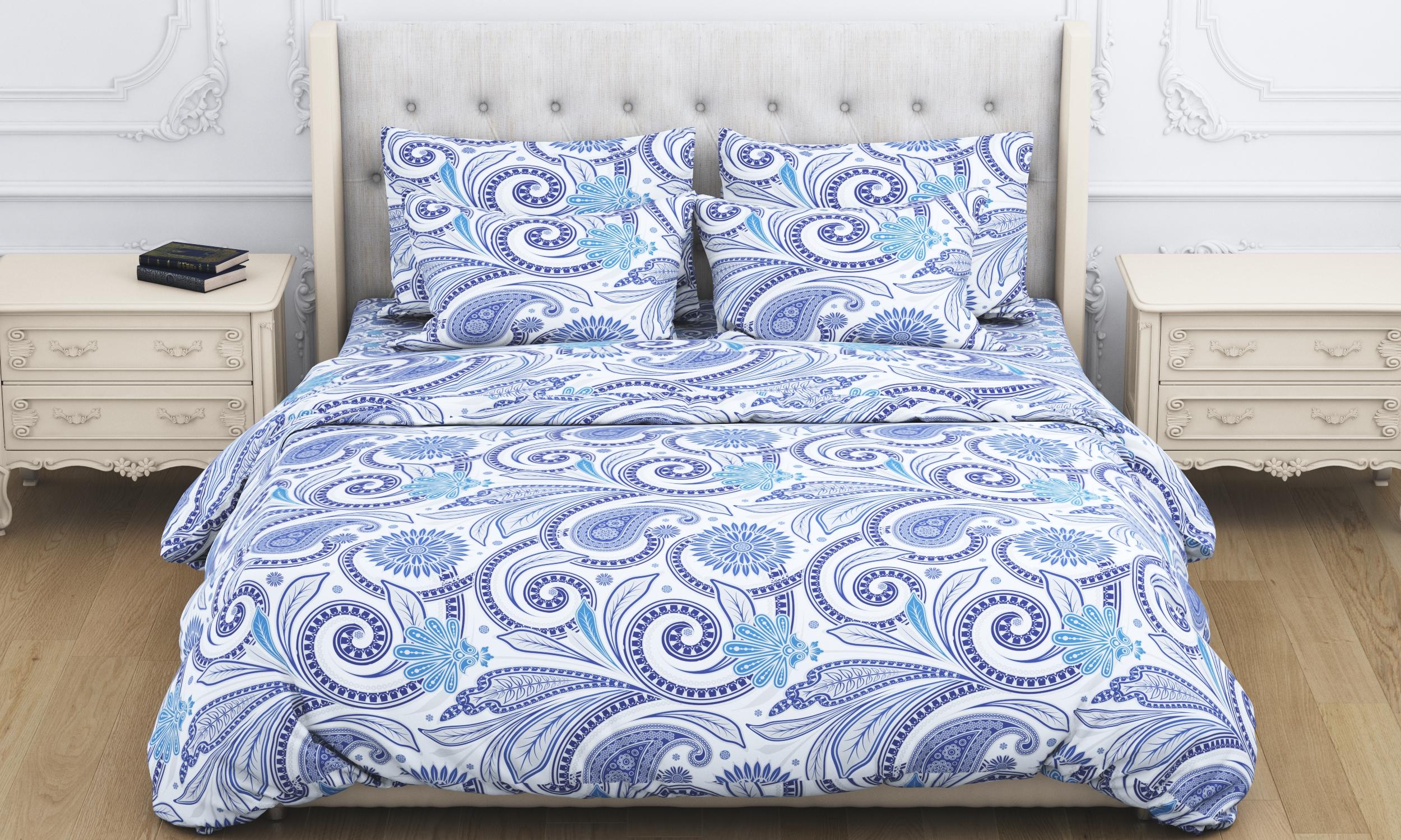 Купить Комплекты постельного белья Amore Mio, Постельное белье Kieran(2 сп. евро), Китай, Голубой, Фиолетовый, Бязь