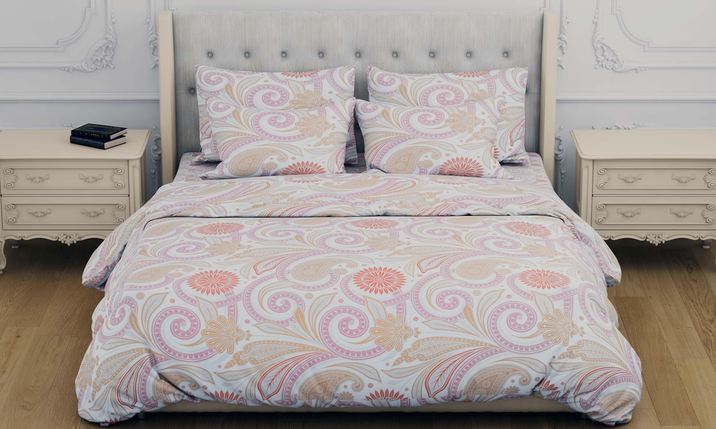 Купить Комплекты постельного белья Amore Mio, Постельное белье Makenna (2 спал.), Китай, Бежевый, Розовый, Бязь