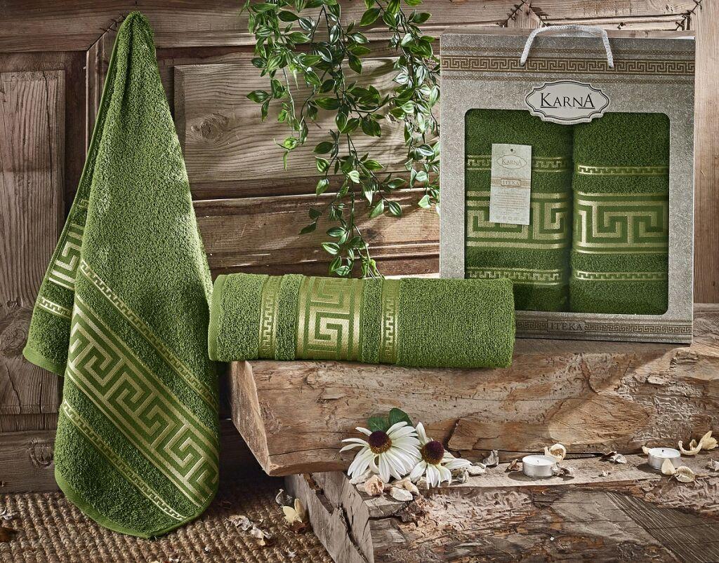 Купить Полотенца Karna, Набор из 2-х полотенец Iteka Цвет: Темно-Зеленый (50х90 см, 70х140 см), Турция, Махра